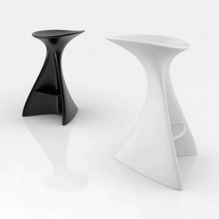Modern Solid Surface stool Vega, handcrafted in Italy
