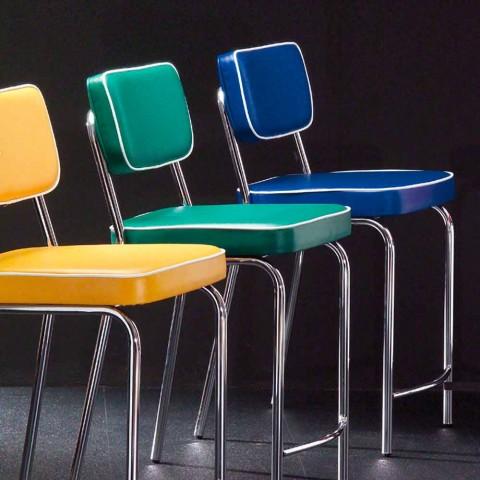 50s design stool in Unica graffiti faux leather