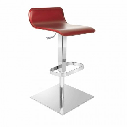 Design stool made with adjustable sitting and chrome basis, Inigo