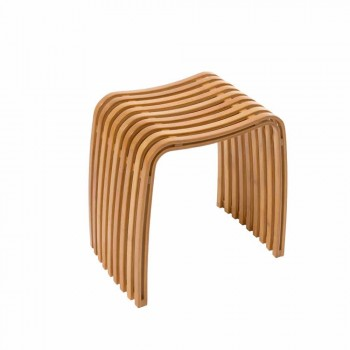 Design bathroom stool in Gorizia curved bamboo