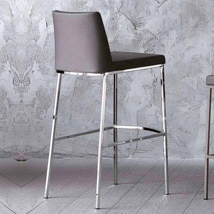 Modern Design Kitchen Stool with Faux Leather Seat H80 cm - Celine
