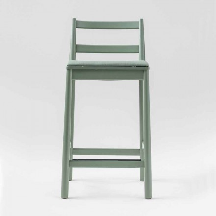 Luxury Stool in Solid Beech with Seat in Fabric Made in Italy - Nora