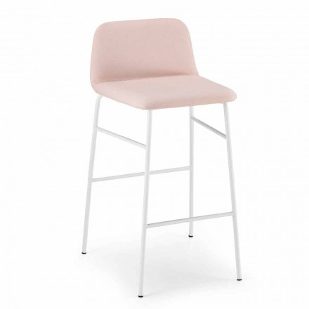 Luxury Stool Covered in Fabric with Metal Base Made in Italy - Molde