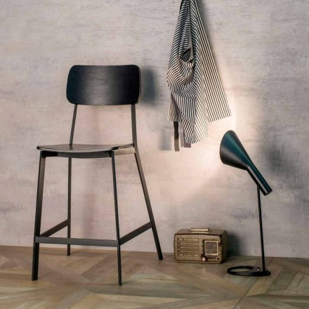 Modern stool H.97 cm, wood and metal, Elmas