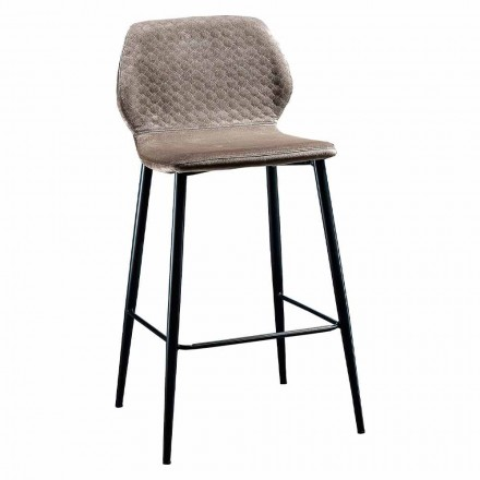 Elegant Stool in Colored Quilted Velvet and Anthracite Metal - Scarat