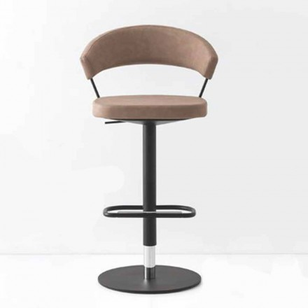Swivel Stool Upholstered Vintage Faux Leather and Metal Made in Italy - New York
