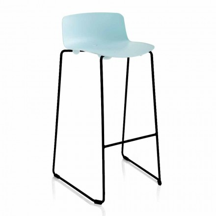 Stackable Stool in Metal and Polypropylene Made in Italy, 2 Pieces - Charla