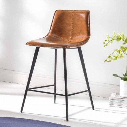 Stool in Eco-Leather H 80, 4 Legs Black Base - Ovidio