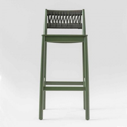Stool in Solid Beech with Weaving in Colored Rope Made in Italy - Nora