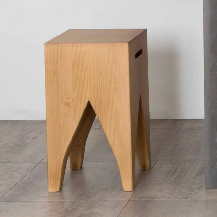 H47cm design solid wood stool made in Italy Lorenzo