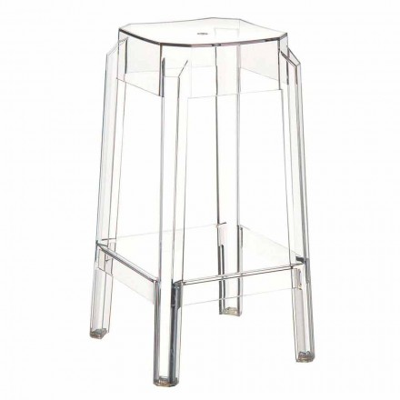 Modern design transparent polycarbonate stool Pescara, made in Italy