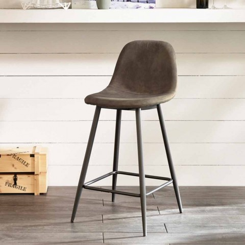 Gino modern design leatherette and metal stool