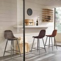 Modern design stool made of faux leather and metal - Gino