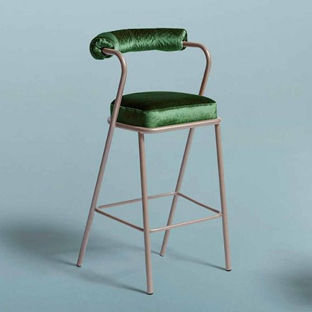 Modern Design Stool in Steel and Green Fabric Made in Italy - Baba Stool