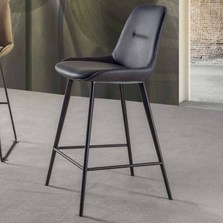 Modern stool H 80 cm, Seat in Eco-leather Nabuk - Ines