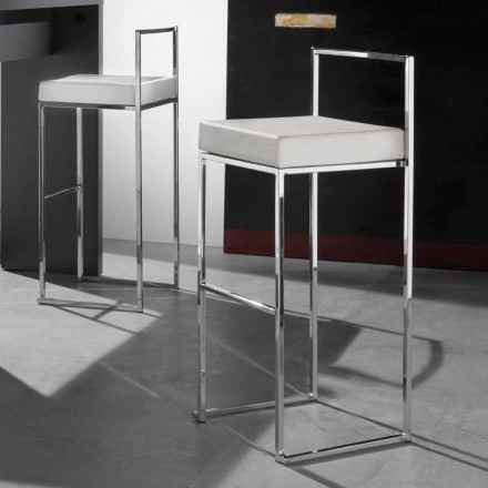 Modern Fixed Stool in Eco-Leather, with Footrest - Alina