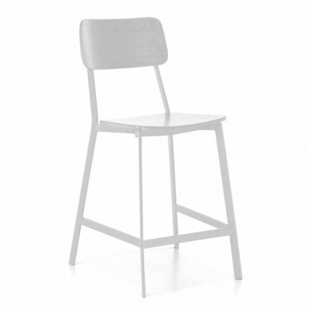 Modern Metal Stool with Seat and Backrest in Wood, 2 Pieces - Habibi