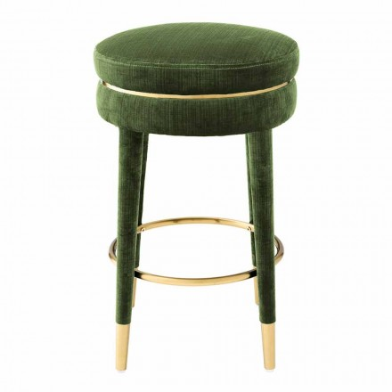 Modern Stool Covered in Fabric with Details in Brass Finish - Belluno
