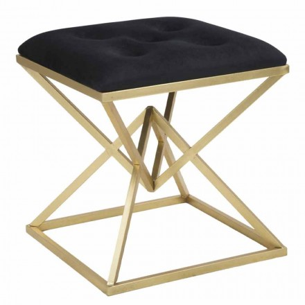Square Modern Design Stool in Iron and Fabric - Jelly