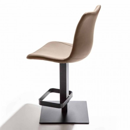 Height Adjustable Stool with Eco-leather Seat and Metal Base - Venia