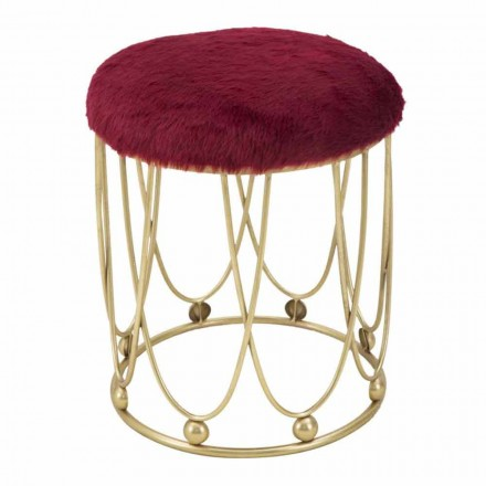 Round Modern Design Stool in Iron and Polyester - Micky