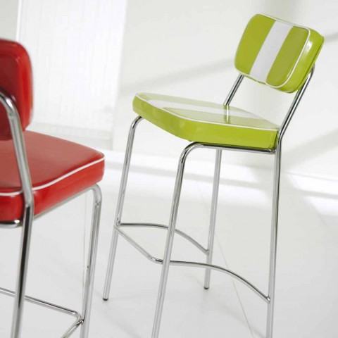 50's style stool in eco-leather with central white band Banda