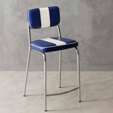 Vintage stool Banda, with eco-leather upholstery