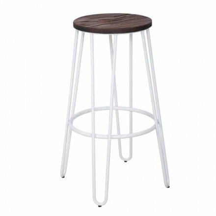 Industrial Style Stool of Modern Design in Wood and Iron, 2 Pieces - Belia