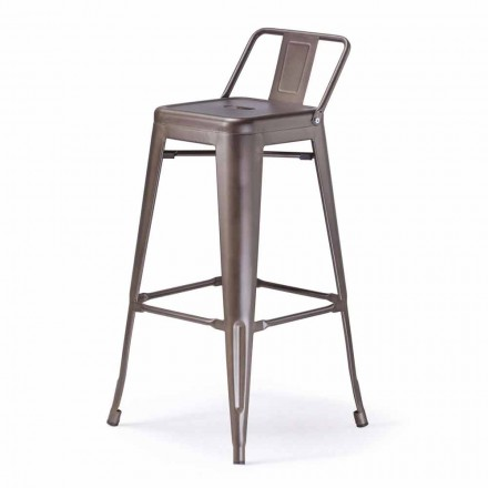 Industrial Style Stool, Completely in Metal - Giuditta