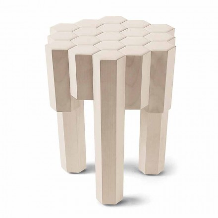 Modern side table/stool Begga in solid wood, L38xW38, made in Italy
