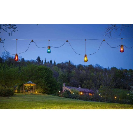 <h3><strong>Composition of hanging garden lamps in brass Guinguette by Aldo Bernardi, made in Italy.</strong></h3>The interesting proposal of the stretched fabrics is a sober solution indicated to illuminate open spaces. The Guinguette tensioned piece us