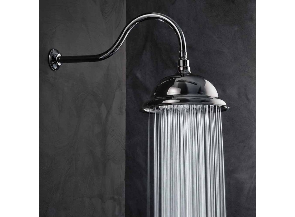 Anti-limescale Shower Head in Steel and Classic Brass Made in Italy - Mingo