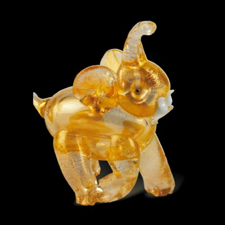 Elephant Shaped Ornament in Gold Murano Glass Made in Italy – Fantino