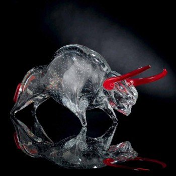 Bull-shaped ornament in Red and Transparent Glass Made in Italy - Torero