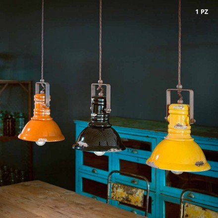 Industrial bell suspension lamp in ceramic and metal Ruth