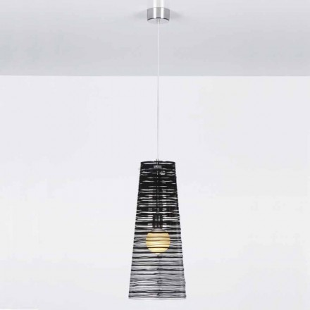 Modern design pendant lamp Shana, wih see-through shade 25 cm diam