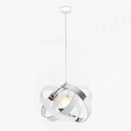 Two-coloured modern pendant light Ferdi, chromolite/satin finishes