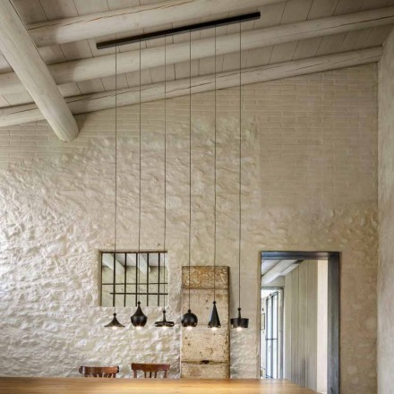 Modern Suspension with Linear Ceramic Rose Window - Lustrini Aldo Bernardi