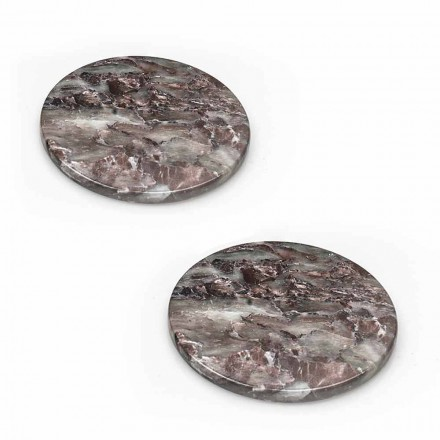 Modern coasters in Colored Marble Made in Italy, 2 Pieces - Nessa