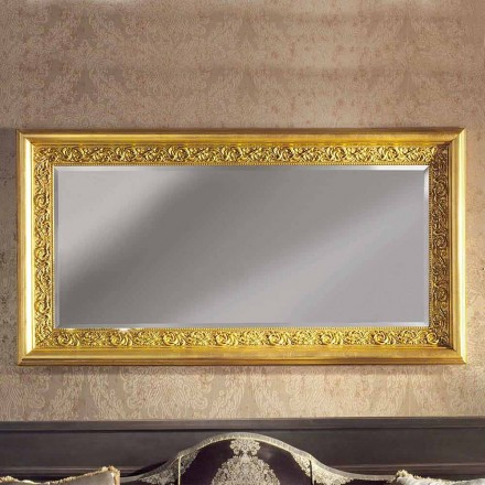 Modern handmade ayous wood wall mirror produced in Italy Enrico
