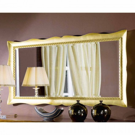 Handmade wall mirror in gold / silver wood, made in Italy, Luigi