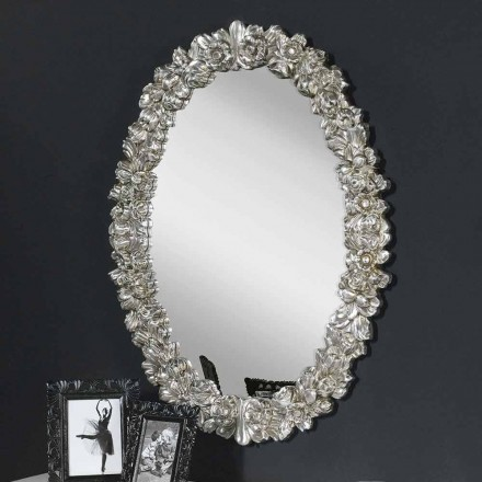 Modern wall mirror in fir wood, completely handmade in Italy, Filippo