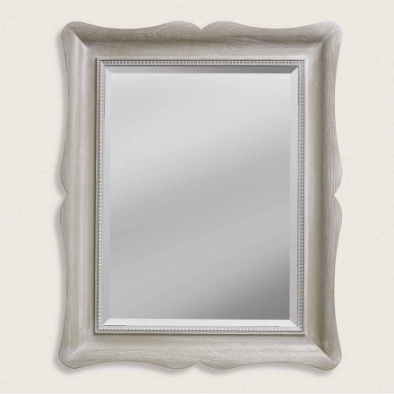 Modern design ayous wood wall mirror, produced in Italy, Angelo