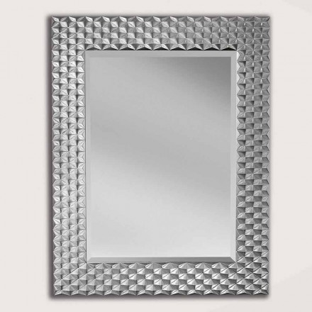 Silver/gold wall mirror in wood, produced in Italy, Giuseppe