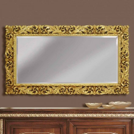 Wooden wall mirror with modern lines, handmade in Italy, Alex