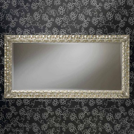 Handmade rectangular wooden wall mirror, made in Italy, Nicolò