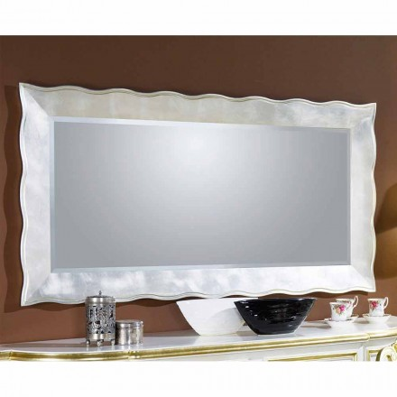 Handmade rectangular wall mirror in wood, produced in Italy, Simone