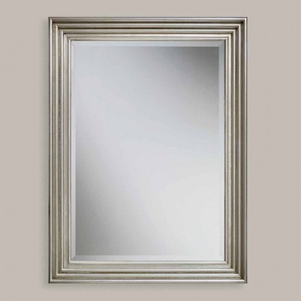 Handmade gold/silver wood wall mirror, produced in Italy, Stefania