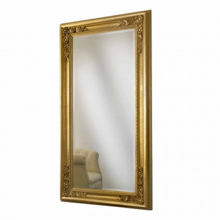Gold/silver wood wall mirror, completely handmade in Italy, Michele