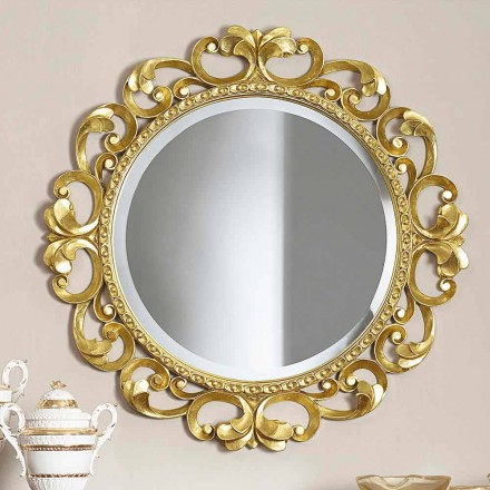 Handmade wooden wall mirror, produced completely in Italy, Riccardo
